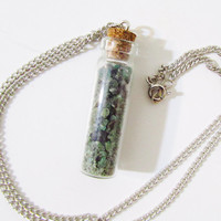 Emerald In Glass Vial Necklace, Silver Tone Chain Glass Vial, Emerald Chips, Engagement, Bridal Gift, Raw Natural Stones, Uncut Untreated