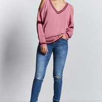 Varsity Stripe Open-Shoulder Sweater