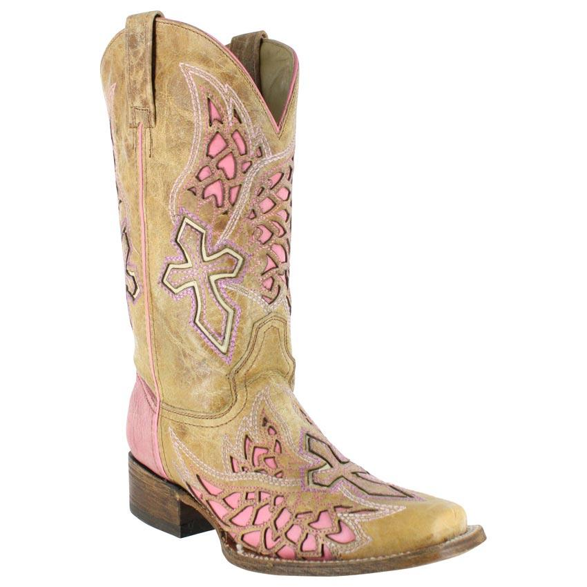 Cross Inlay Western Boots