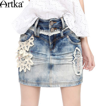Artka Women's Spring All-match Handmade Battenburg Lace Applique Pressed Pleats Whitewashed Effect Denim Pencil Skirt QN14332X