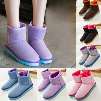 Women Ladies Winter Warm Flat Snow Ankle Boots