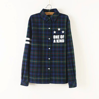 Plaid Letter Print Long-Sleeve Button Collar Shirt