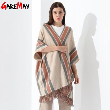 Ponchos And Capes Women Loose Cardigan Striped Tassel Tops Poncho Knitted Sweater Ladies Bat Wing Sleeve
