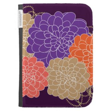 Pretty Whimsical Floral Print Kindle Case