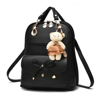 Leather women bag backpacks for girls black lady backpacks pink bowl rucksack beige black blue purple shoulder bags tote XA305YL