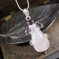 Rose Quartz Necklace - large Folk Rose Quartz Necklace Heart Chakra Healing Hand
