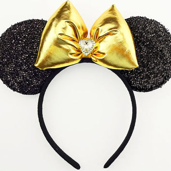 Minnie Mouse Ears Gold Mickey Mouse Ears Headband Minnie Halloween Costume Minnie Headband Sparkle Gold Mickey Ears Gold Minnie Mouse Bow