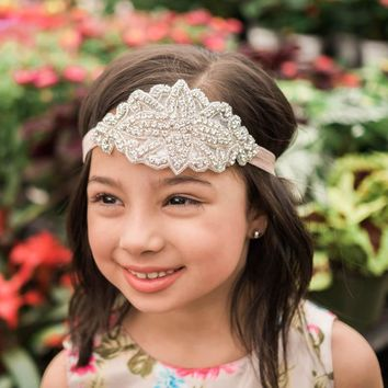Josephine Rose Pink Crystal Jewel Headband