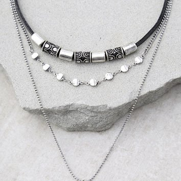 Terrific Hieroglyphics Black and Silver Layered Choker Necklace