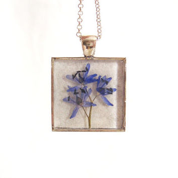 Floral necklace - Real flower necklace - Alpine squill flower - Pressed flower jewelry - Botanical - Nature inspired necklace - Blue flower