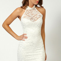 White Halter High Neck Lace Bodycon Mini Dress