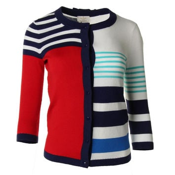 Kate Spade Womens Ollie Striped Button Front Cardigan Sweater