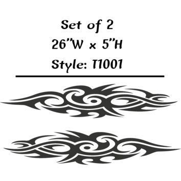 "Vehicle Tribal Flames Vinyl Decal Sticker Car Truck Boat Graphics Racing - STYLE T1001 - Set of (2) 26""W X 5""H"