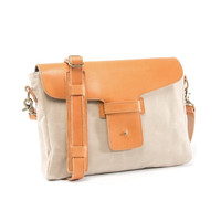 No. 09 Platypus, Satchel, Natural Cream Waxed Canvas, Wheat Leather