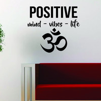 Positive Mind Vibes Life Om Quote Inspirational Yoga Decal Sticker Wall Vinyl Art Wall Room Decor Decoration