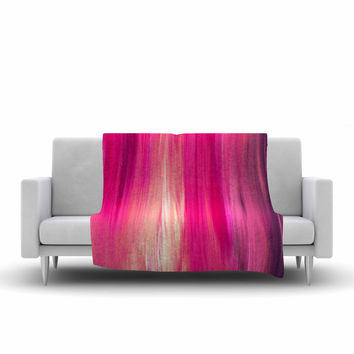 "Ebi Emporium ""Irradiated Fuchsia"" Magenta Pink Fleece Throw Blanket"