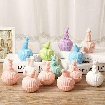 5 colors ceramic animal jewelry box stud earring necklace accessories storage box Ceramic Sugar Bowl Canister