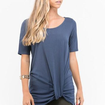 Knot Bottom Basic Tshirt - Navy