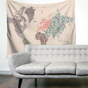 Boho World Map Pattern Floral Gypsy Unique Dorm Home Decor Wall Tapestry