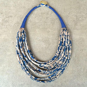 Statement multistrand necklace/ handmade fabric necklace/ upcycled vintage silk/ textile jewelry /ethnic jewelry /ecofriendly