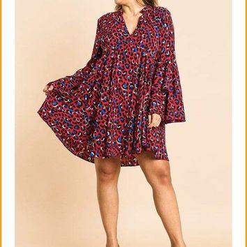 Extended Sizes Animal Print Oversize Bell Sleeve V-neck Dress -  Oversized