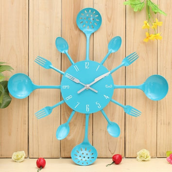Metal Kitchen Cutlery Utensil Wall Clock Spoon Fork Ladel Home C