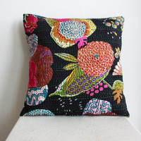 Boho Chic Black Pillow in 18 x 18