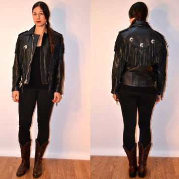 sz small black leather fringe jacket // UNIK leather coat // FauxyFurr Vintage LC40-1115ddd