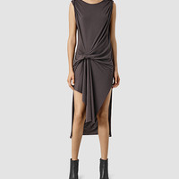 ALLSAINTS US: Womens Riviera Devo Dress (Washed Black)