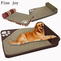 Fine joy Dog Bed Large Dog House Sofa Kennel Square Pillow Husky Labrador Teddy Large Dogs Cat House Beds Mat
