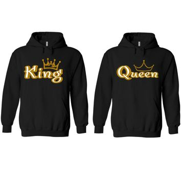 Gold King and Queen Black Hoodie