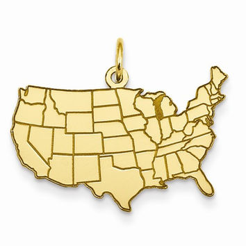 14k Yellow Gold United States Map Charm Pendant