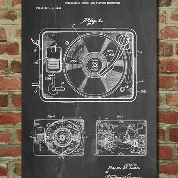 Record Player Poster, Record Player Patent, Record Player Print, Record Player Art, Record Player Decor, Record Player Blueprint