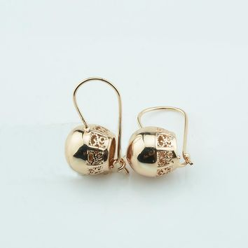 FJ Women 585 Smooth Ball Carve Pattered 585 Gold Color Earrings Small Dangles Earrings Jewelry