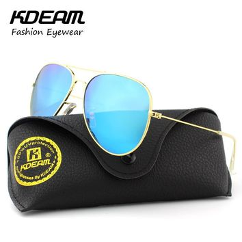 Air Force Pilot Eyewear 62' Polarized Sunglasses Men Icon Street Man Sun Glasses With Brand Leather Case gafas aviador