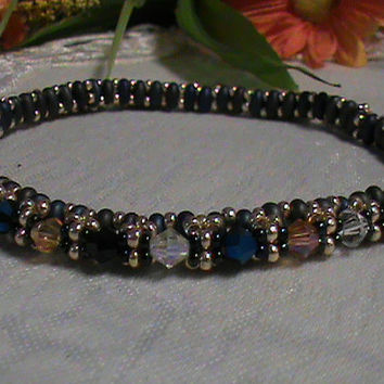 Glass crystals multiple color seed bead bangle bracelet
