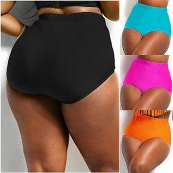 DCCK7N3 Women Plus Size XL-4XL High Waist Bikini Black Red Blue Tankini Bottom Swim Briefs
