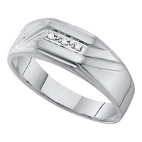 10k White Gold 0.03Ct Diamond  Fashion Mens Wedding Ring Band: Ring