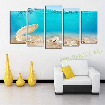 5 Panels Pearl Shells Pure Sea Picture Canvas Print Painting Wall Art Canvas painting For Home Decor Unframed Unframed