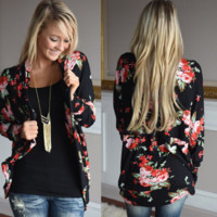 Rose Print Long Sleeve Cardigan B0015543