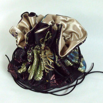 Jewelry Travel Tote | Reticule |  Bag or Pouch  Silky Chinese Satin Jacquard Large