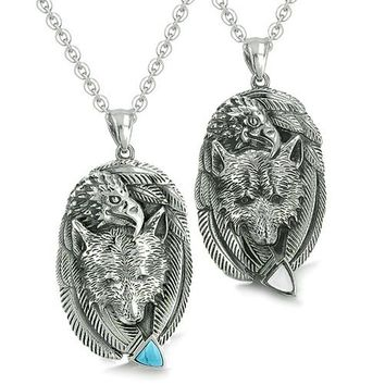 Amulets Couples Best Friends Wolf Eagle Unity Feathers Turquoise Cats Eye Arrowhead Necklaces