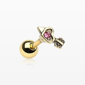 Golden Antique Cupid's Arrow Cartilage Tragus Barbell