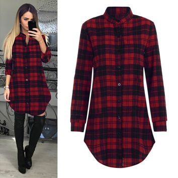 Womens Spring Summer Mini Dress Ladies Long Sleeve Turndown Collar Plaid Lattice Dress Vestidos De Festa