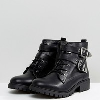 London Rebel Metal Trim Buckle Biker Boots at asos.com