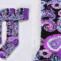 PAISLEY POWER, WOMEN'S KNEE-HIGH SOCK, BLUE PAISLEY DESIGN