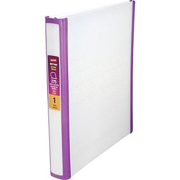 1 Staples® Better® Non View Binder with D-Rings, White Glitter
