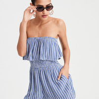 AE Overlay Striped Tube Romper, Blue