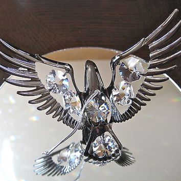 Eagle Ornament Suncatcher with 6 Swarovski prisms, Hematite Look Finish