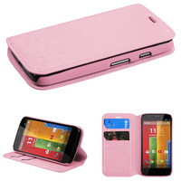 Book-Style Leather Wallet Case for Motorola Moto G - Pink